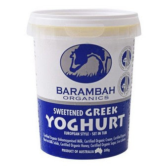 Barambah Organics - Sweetened Greek Yoghurt 500g