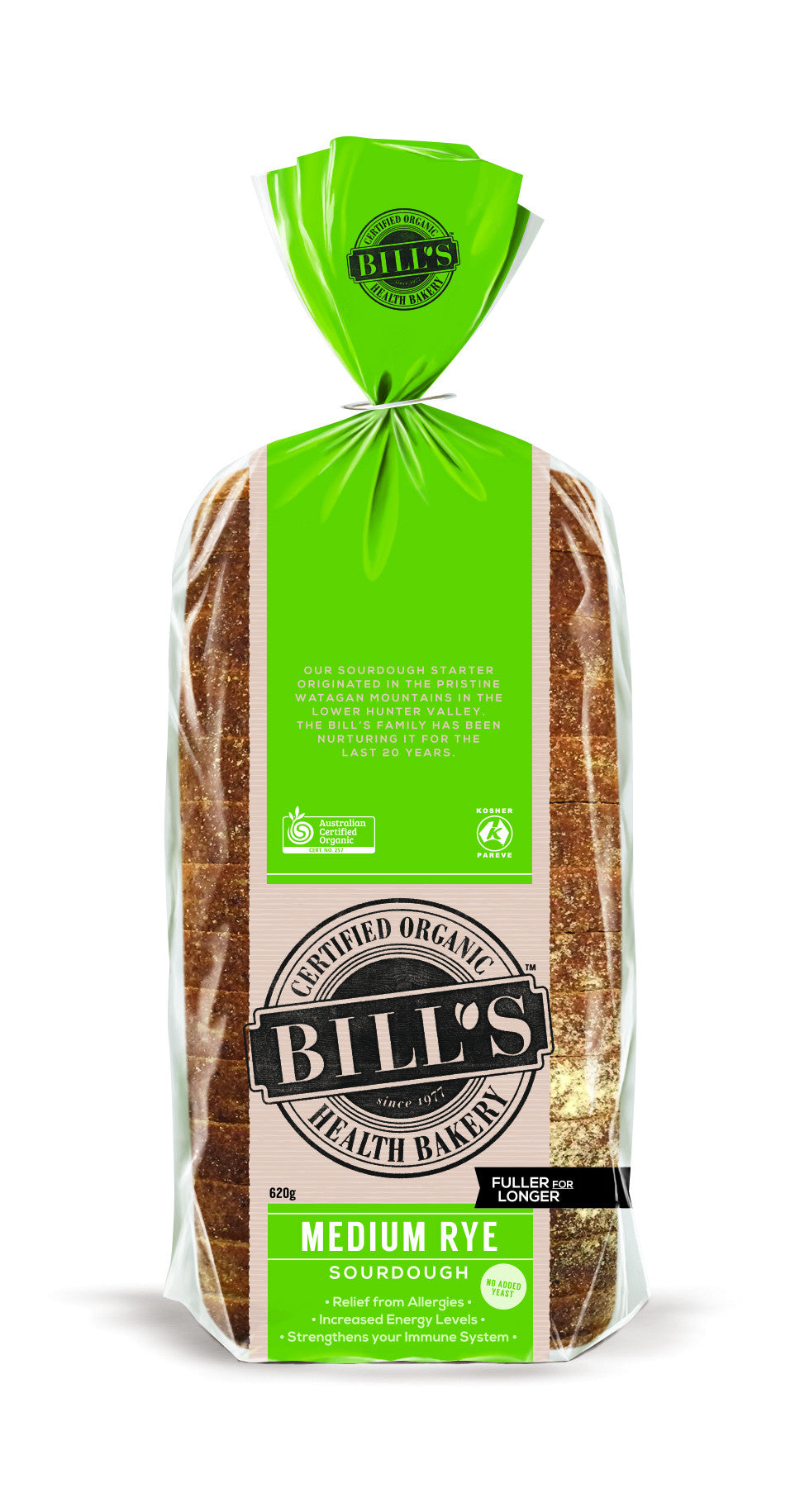 Bills Organic Bread - Medium Rye Sourdough 620g