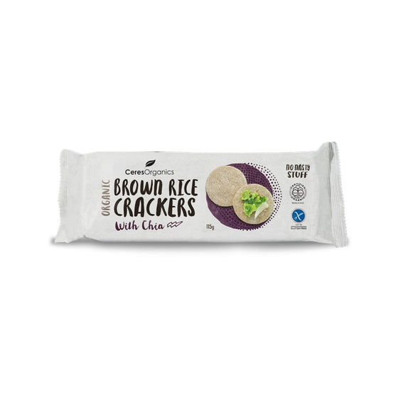 Ceres Organics - Brown Rice Crackers - Chia 115g