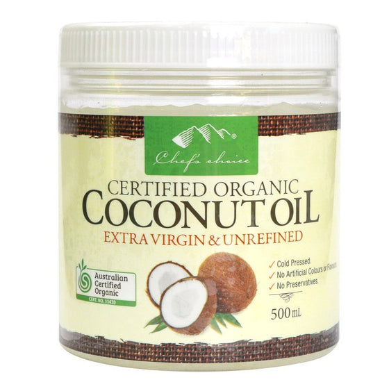 Chefs Choice - Organic Extra Virgin & Unrefined Coconut Oil 500ml