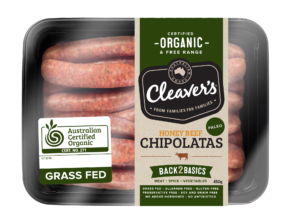 Cleavers Organic - Paleo Beef Honey Chipolata's (100-200g)