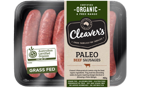 Cleavers Organic - Paleo Beef Sausages (100-200g)