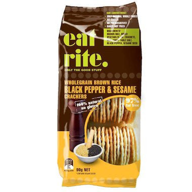 eat rite - Brown Rice Crackers with Black Pepper & Sesame 100g