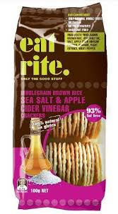 eat rite - Brown Rice Crackers with Sea Salt & Apple Cidar Vinegar 100g