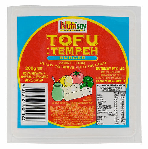 Nutrisoy - Tempeh Burger (Sandwich Filling) 200g