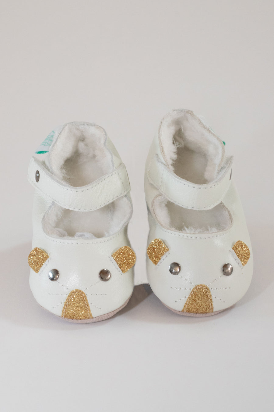 LITTLE MOUSE CREAM SHOE IN GOLD