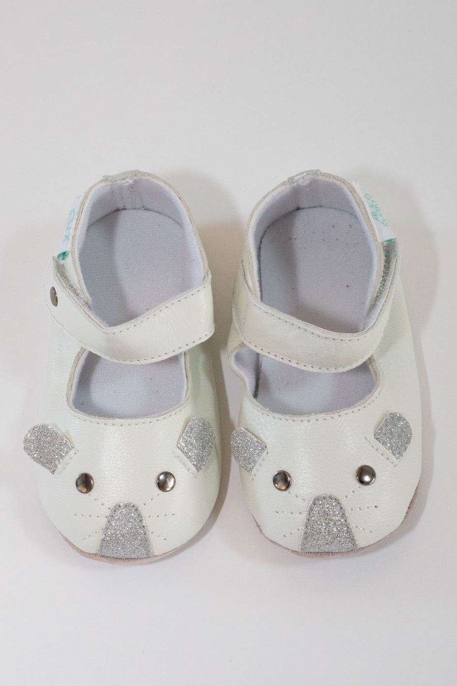 LITTLE MOUSE CREAM SHOE IN SILVER