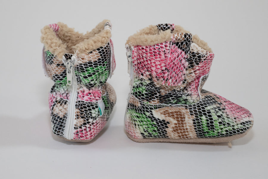 FUR LINED BOOTIES | PINK SNAKE