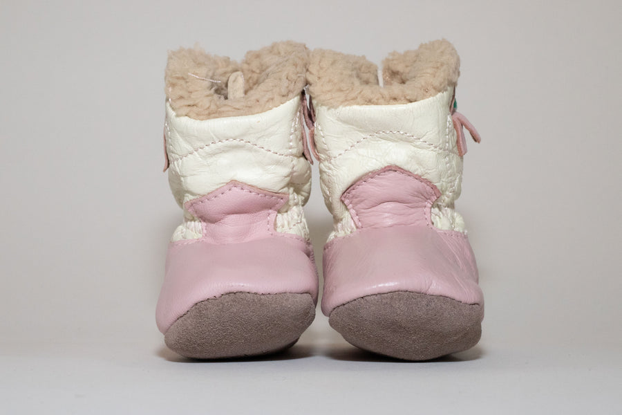COWBOY WHITE AND PINK FUR BOOTIES