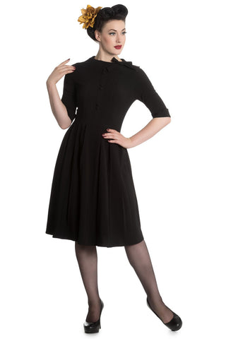Hell Bunny Madison Dress - Black Rockabilly Retro Pinup