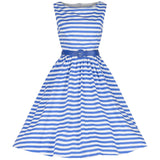 Lindy Bop Audrey Blue Band Striped Swing Dress Rockabilly life vintage inspired