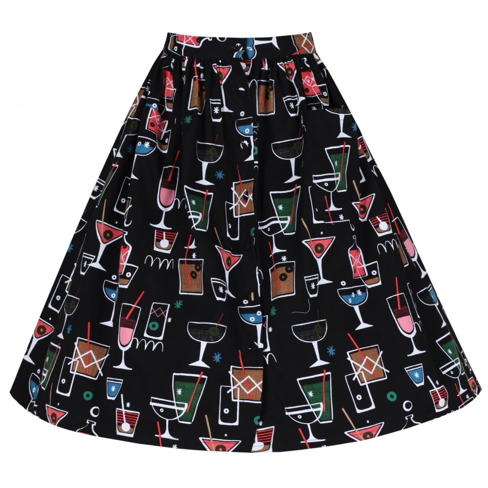 Lindy Bop Adalene Black Cocktail Print Swing Skirt