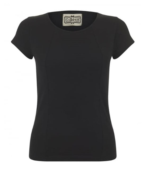 Alice Plain Black TShirt by Collectif for a great rockabilly look