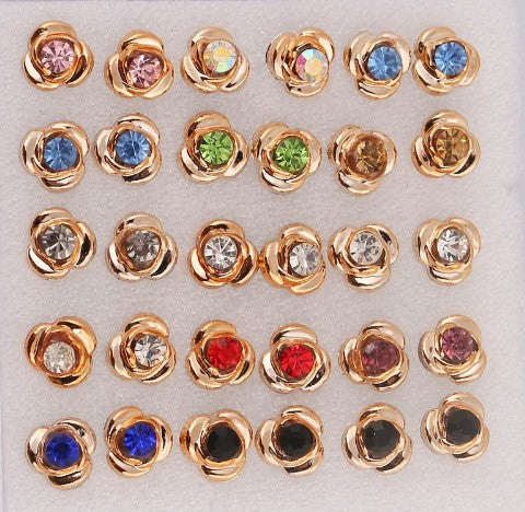 Gold Swirl Set Crystal Stud Earrings Large