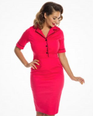 Lindy Bop Aviana Raspberry Pink Pencil Dress