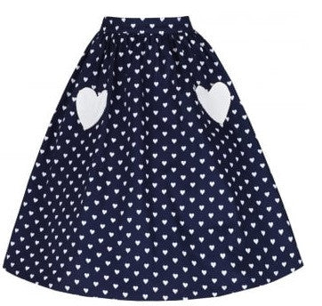 Lindy Bop Bernadette Navy Heart Swing Skirt Rockabilly Retro Pinup