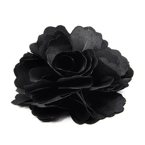 Black silk hair flower