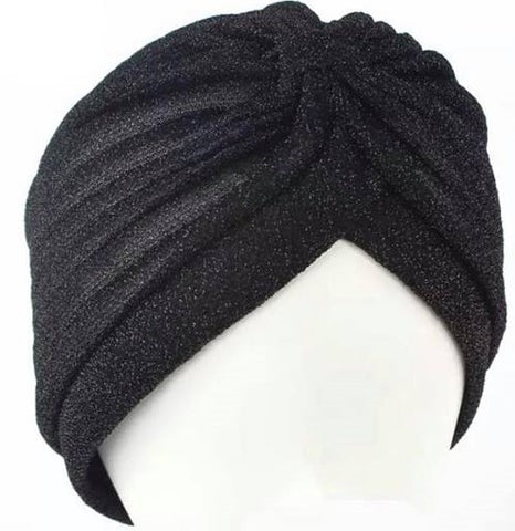 Black sparkle turban