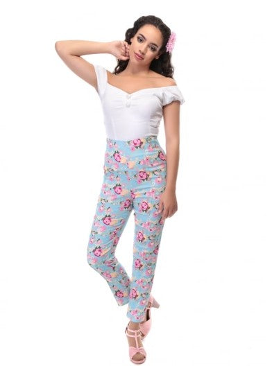 Collectif Bonnie Peony Floral Trousers