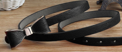 Faux Leather Bow Belt Black