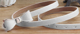 Faux Leather Bow Belt White