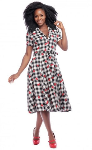 Collectif Caterina Gingham Watermelon Swing Dress