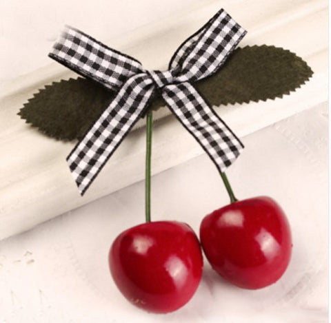 Cherry Hairclip Black/White Gingham Ribbon