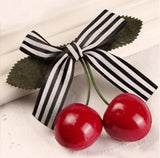 Cherry Hairclip Black/White Stripe ribbon