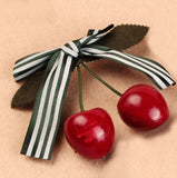 Cherry Hairclip Green Stripe ribbon