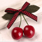 Cherry Hairclip Red/Black Gingham ribbon