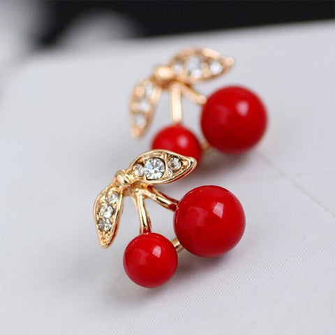 Rockabilly Cherry Stud Earrings