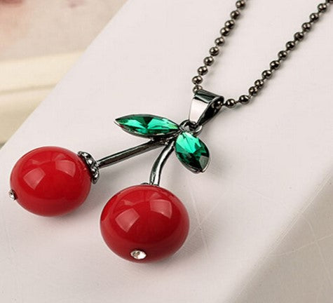 Cherry necklace with two length chains