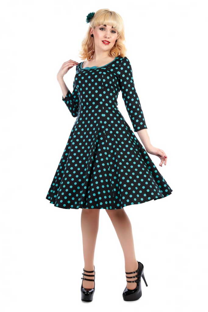 Collectif Willow Polka Dot Doll Dress - Black/teal Rockabilly, Retro, Pinup