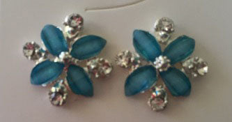 Crystal Flower Stud earrings blue