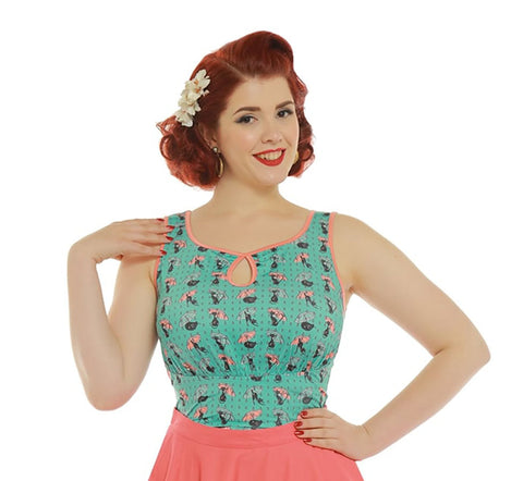 Lindy Bop Daisy Cats in Rain Top Retro clothing