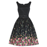 Lindy Bop Delta Black Floral Swing Dress