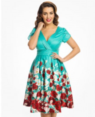Lindy Bop Donna Teal Blossom Border Print Tea Dress
