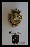 Shield Emblem with Horse Gold Lapel Pin - Fancy Guy by Retro Lil