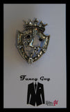 Shield Emblem with Horse Silver Lapel Pin - Fancy Guy by Retro Lil