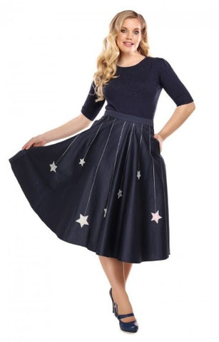 Collectif Mainline Debbie Falling Stars Swing Skirt