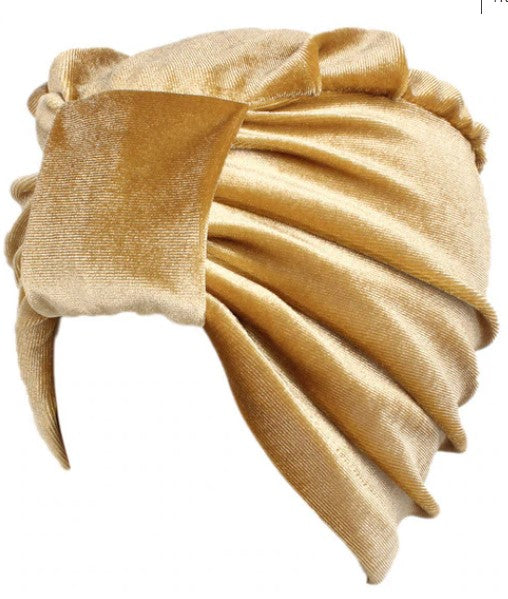 Plain Velvet Turban Gold