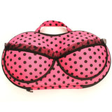 Hot pink polka dot with lace trim bra travel box