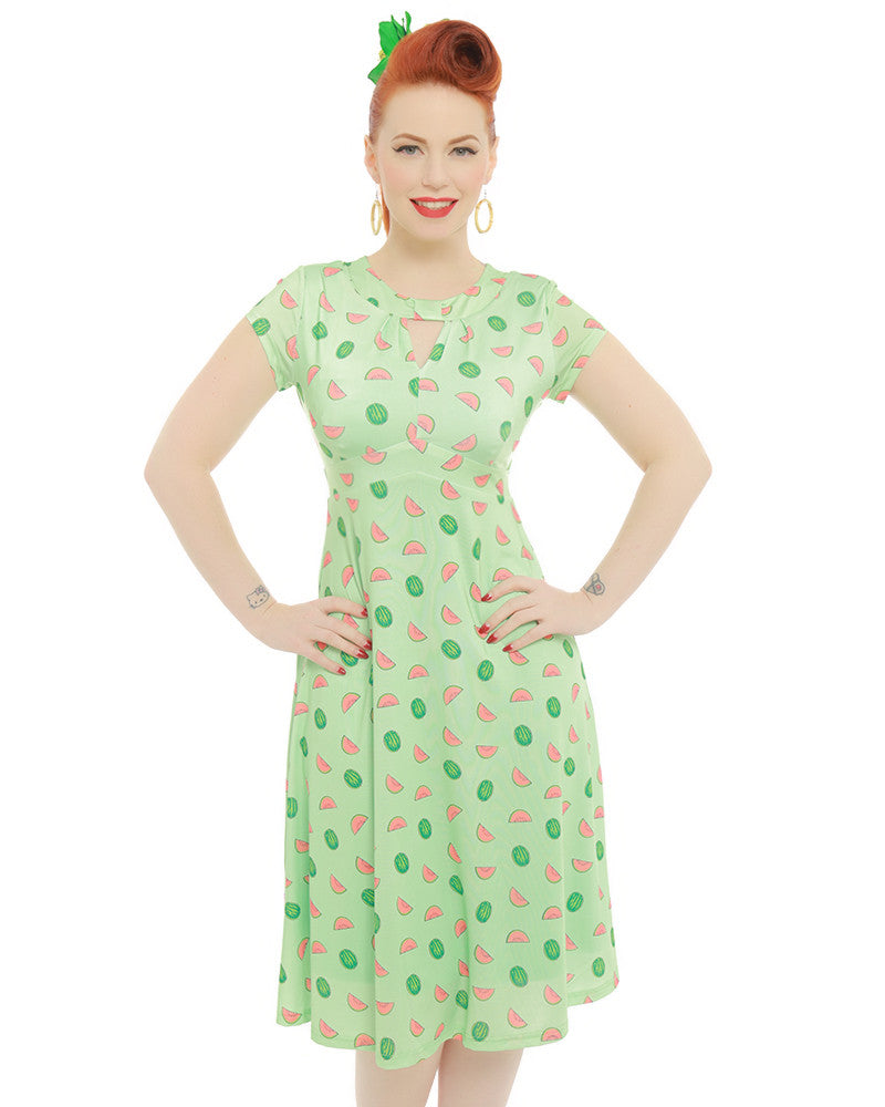 Lindy Bop Juliet Green Watermelon Print Tea Dress