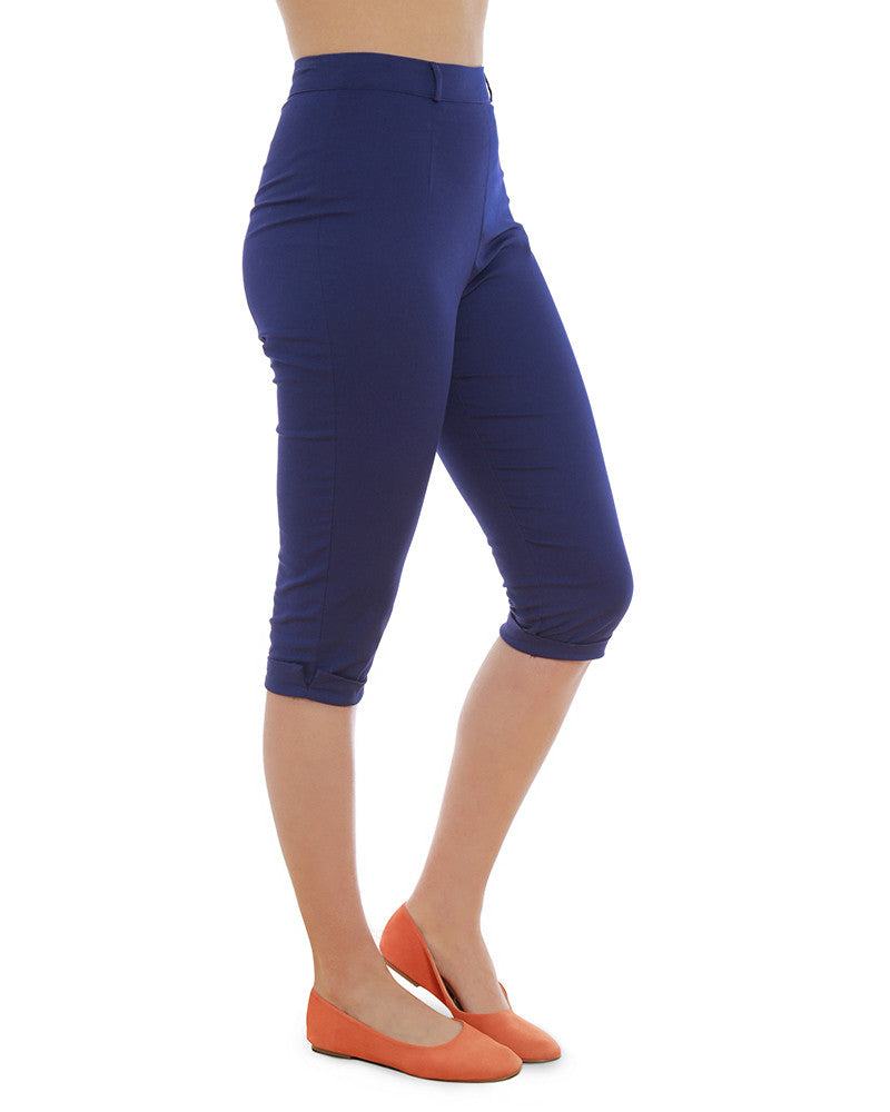 Lindy Bop Kendra Blue 50s Inspired Cropped Capris