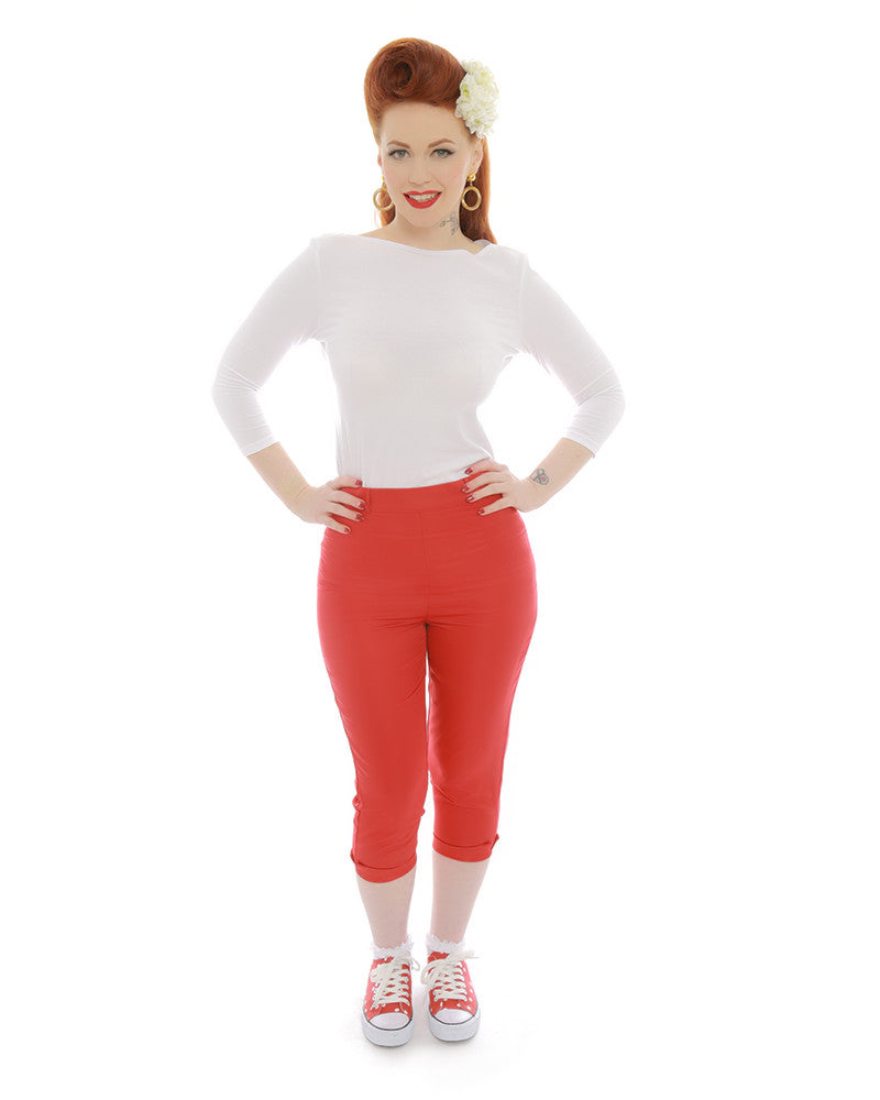 Lindy Bop Kendra Red 50s Inspired Cropped Capris