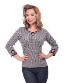 Steady Clothing Keyhole Houndstooth Top Rockabilly Style