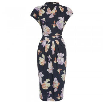 Lindy Bop Emma Nostalgic Floral WIggle Dress