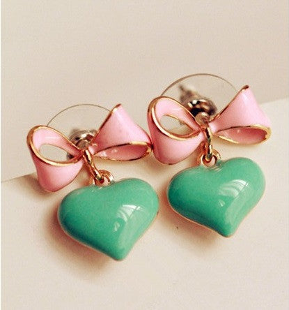 Heart and Bow Earrings Rockabilly Retro Pinup