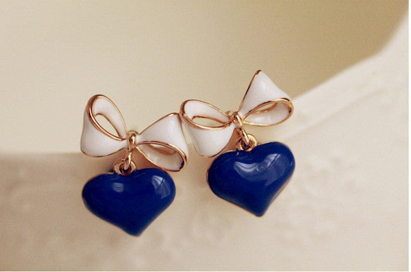 Heart and Bow Earrings - Various Colours