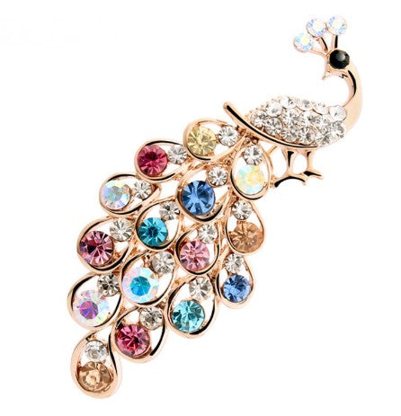 Peacock Brooch with multi coloured crystals